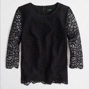 J. Crew black scalloped lace 3/4 sleeve blouse